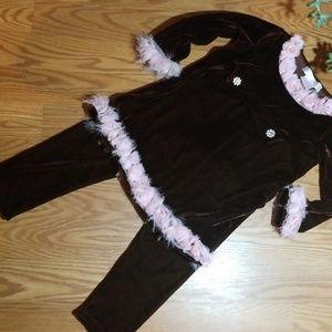 Greggy girl velvet outfit new size4t